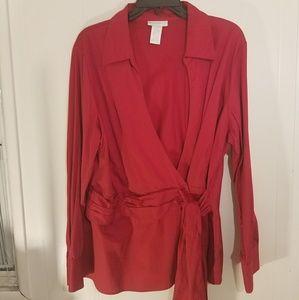 Worthington Woman faux wrap shirt size 18
